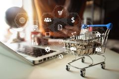 Online Shopping payments concept. stock image
