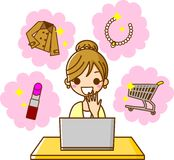 Online Shopping at PC. This is an illustration of online shopping on your PC Stock Photography
