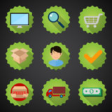 Online shopping process flat  icon set Stock Photography