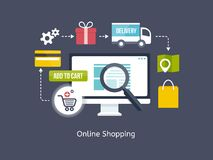 Online Shopping process infographic. Showing the choice of merchandise off the website  adding it to the shopping cart  payment  packaging  delivery and receipt Stock Photo