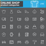 Online shopping product categories line icons set, outline vector vector illustration