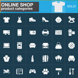 Online shopping product categories vector icons set, modern solid symbol collection, filled white pictogram pack. Signs, logo illu stock illustration