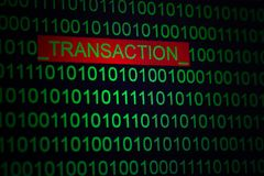 Online shopping protection, transaction coding. Word Transaction in binary code of green color on black background. stock photography