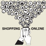 Online Shopping related elements Stock Image