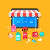 Online Shopping and Sale concept. Illustration of online shopping and sale concept Royalty Free Stock Photos