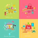 Online Shopping Sale Concept. Illustration of online shopping sale concept in flat style Royalty Free Stock Photos