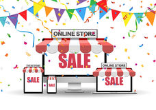 Online shopping and sale concept. This image was made by an illustrator. Vector EPS 10 format Royalty Free Stock Images