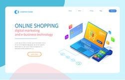 Online-shopping, Sale, Consumerism och online-lager Online-shoppa mall för isometrisk smart smartphone Mobil royaltyfri illustrationer