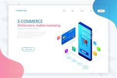 Online-shopping, Sale, Consumerism och online-lager Online-shoppa mall för isometrisk smart smartphone Mobil stock illustrationer