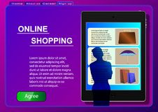 Online Shopping. Sale, consumerism and people concept. A woman in an online store using a tablet selects products. stock illustration