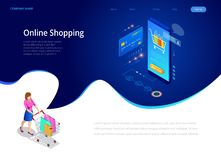 Online shopping, Sale, Consumerism and Online store. Isometric Smart smartphone online shopping template. Mobile. Marketing and e-commerce. Vector illustration vector illustration