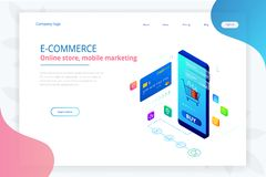 Online shopping, Sale, Consumerism and Online store. Isometric Smart smartphone online shopping template. Mobile. Marketing and e-commerce. Vector illustration stock illustration