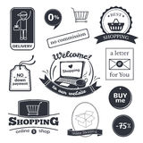Online shopping signs set Royalty Free Stock Photos