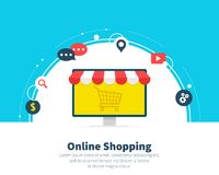 Online shopping. Signs, symbols, line icons set. Concept for web banners, websites, infographics, printed materials. Best quality. Creative flat cartoon design Stock Images