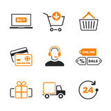 Online shopping simple vector icon set Royalty Free Stock Photos