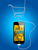 Online shopping on smartphone Stock Image