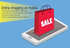 Online shopping. Smartphone turned into internet shop. Concept of mobile royalty free illustration