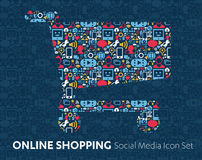 Online shopping of social media icons Royalty Free Stock Photography