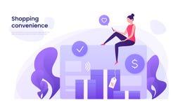 Online-shopping som betalar med kreditkortbegrepp Vektorillustr royaltyfri illustrationer