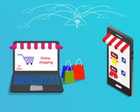 Online shopping store with laptop connect to smart phone by internet royalty free illustration