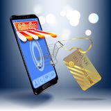 Online shopping in the online store on your smartphone. For your website design, poster. Stock Photo