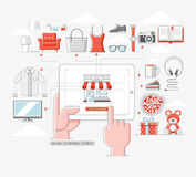 Online shopping stores concept. Royalty Free Stock Photo