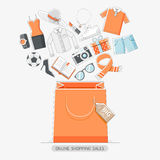 Online shopping stores conceptual line icons style. Stock Photos