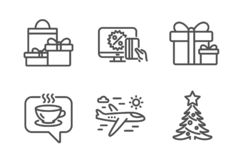 Online shopping, Surprise package and Shopping icons set. Coffee, Airplane travel and Christmas tree signs. Vector. Online shopping, Surprise package and royalty free illustration