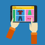 Online Shopping With Tablet. Editable online shopping with tablet illustration in flat style Royalty Free Stock Photo