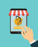 Online shopping tablet with yellow basket. Vector illustration. Stock Images