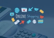 Online shopping text with drawings graphics Royalty Free Stock Photography
