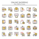 Online Shopping , Thin Line and Pixel Perfect Icons Stock Photography