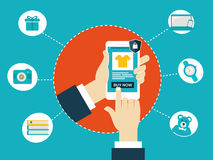 Online shopping using mobile Royalty Free Stock Photo