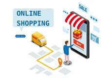Online-shopping, uttrycklig hems?ndning, kurirservice Isometriskt gods f?r best?llningar f?r designsmartphonek?pare, leverans royaltyfri illustrationer