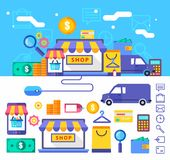 Online shopping  vector collection concept in Stock Images
