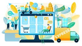 Buying Goods on Sale in Online Shop Vector Concept royalty free illustration
