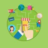 Online shopping vector flat design illustration. Royalty Free Stock Image