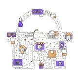 Online shopping vector flat line art illustration. E-commerce business concept vector illustration. Modern thin line art flat style design element in the shape Stock Image