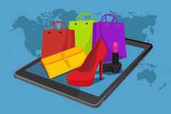 Online shopping, vector illustration, fashion, tablet Royalty Free Stock Images