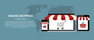Online Shopping Vector Illustration. Flat Stock Photos
