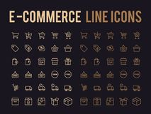 Online shopping vector line icon - app and mobile web responsive. Online shopping vector line icon for app and mobile website responsive Royalty Free Stock Photos