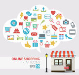 Online shopping vector - online store icons Stock Photo