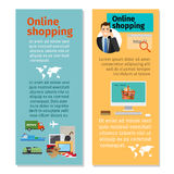 Online shopping vertical flyers design Royalty Free Stock Photography