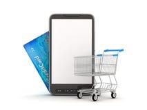 Online-shopping vid den mobila telefonen Arkivbilder