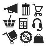 Online shopping web and mobile icons. Vector. Stock Photography