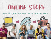 Online Shopping Web Shop E-shopping Concept. Online Shopping Web Shop E-shopping Stock Images