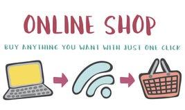 Online Shopping Web Shop E-shopping Concept royalty free stock photos