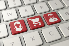 Online shopping white red Keyboard Stock Images