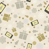 Online shopping.Winter festive seamless background. Snowflakes,. Winter festive seamless background. Snowflakes, gifts, snowfall. Christmas background. New Year Royalty Free Stock Images
