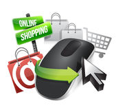 Online shopping and Wireless computer mouse stock illustration